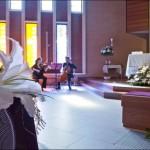 Flores bancos para boda.