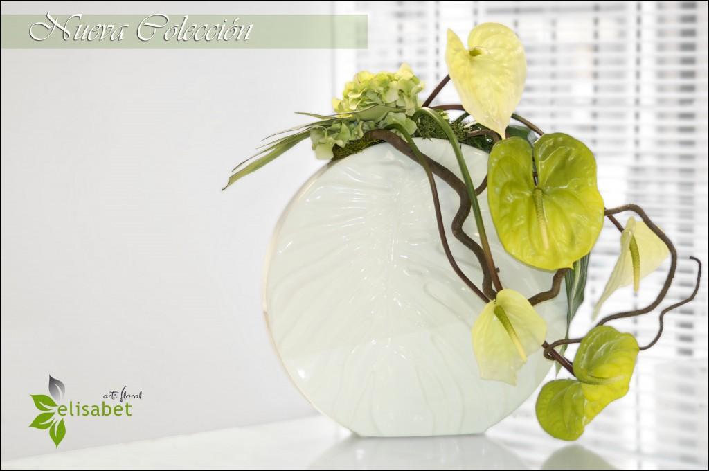 Arreglo artificial anthurium verde nueva colección  elisabet arte floral