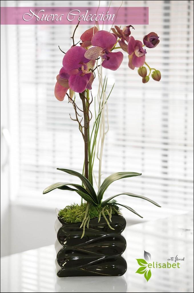 Arreglo artificial orquidea individual fucsia elisabet arte floral nueva colección