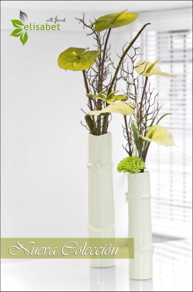 Arreglos en flor artificial anthuriums y bambu elisabet arte floral nueva colección