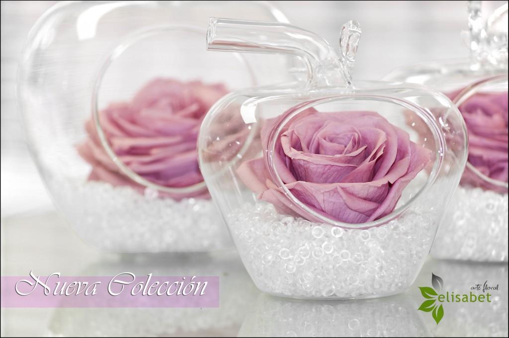 Manzanas de cristal en flor preservada detalle nueva colección
