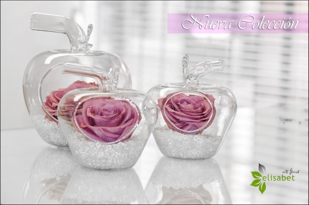 Manzanas de cristal en flor preservada nueva colección