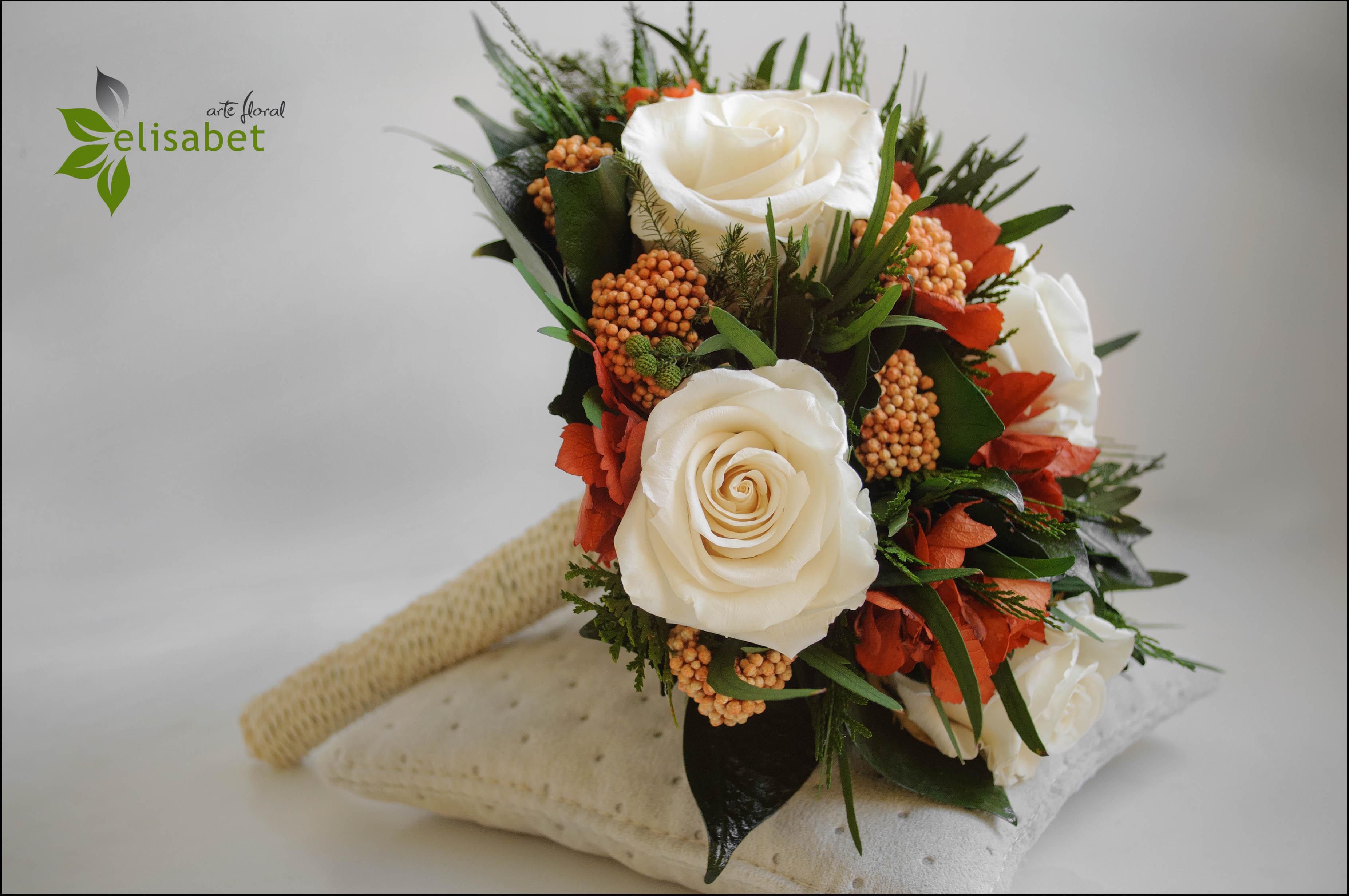 Ramo De Novia Preservado Naranja Y Rosas Elisabet Arte Floral Blog ~ Ramos De Novia Flores Preservadas